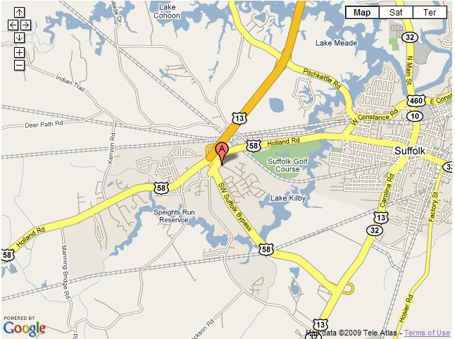 Map to Kilby Shores courtesy of Google Maps