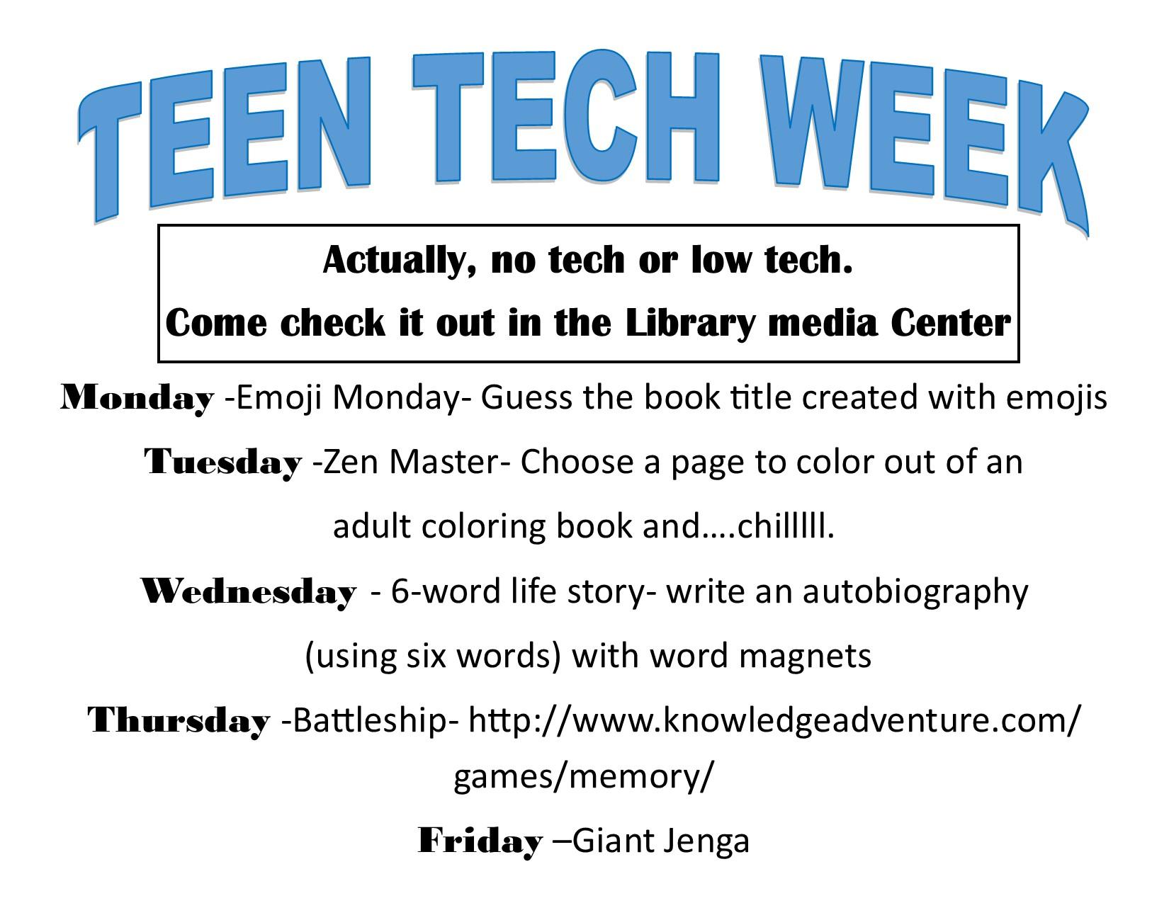 Teen Tech Week March 5th-11th – Lakeland High School Media ...